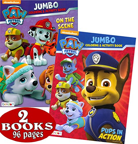 PAW Patrol Coloring and Activity Book Set 2 Books ~ 96 Pages Chase, Rocky, Marshall, Skye, Zuma, and Rubble