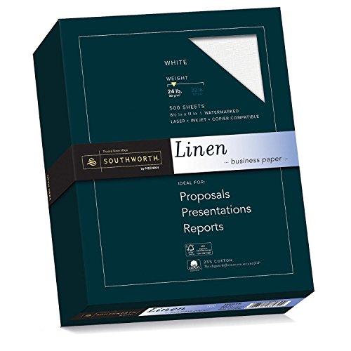 """Southworth Linen Business Paper, 24lb, 8.5'x11"""", White, 500 Sheets 554C"""