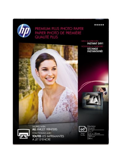 HP Premium Plus Photo Paper, Glossy, 5×7, 60 Sheets CR669A