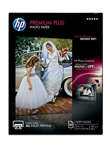 HP Premium Plus Photo Paper, soft Gloss 50 Sheets, 8.5 x 11 Inches