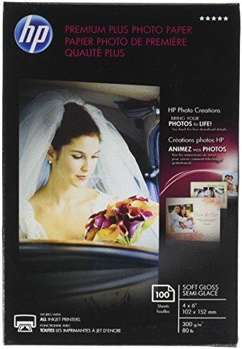 HP Premium Plus Photo Paper, Soft Gloss, 4×6, 100 Sheets CR666A