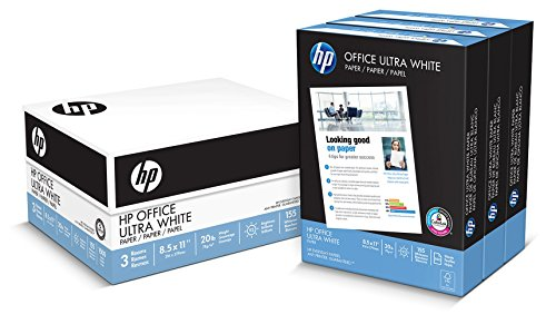 HP Paper, Office Ultra White Poly Wrap, 20lb, 8.5 x 11, Letter, 92 Bright, 1500 Sheets / 3 Ream Case, 112090, Made in the USA
