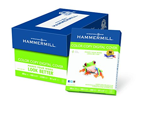 Hammermill Paper, Color Copy Digital Cover, 60 lbs., 8.5 x 11, 100 Bright, 2,500 Sheets / 10 Pack Case 122549C, Made in the USA