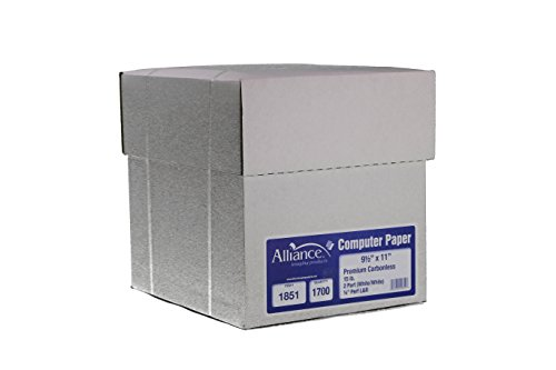 Alliance Premium Carbonless Computer Paper 9-1/2″ x 11″ Blank L&R Perforated Edge 2-Part White/White 92 Bright 15lb 1700 Sheets per Carton