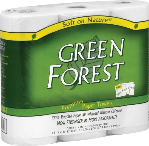 Green Forest 100% Recycled Paper Towels, 104 count, 3 rolls Pack of 10