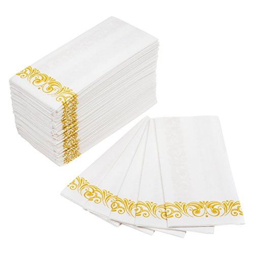 MOCKO Disposable Hand Napkins 17×12″ 100 Pack | Soft & Absorbent Towels With Gold Floral Decoration | Air-Laid Linen Paper | For Wedding, Bathroom Guests, Kitchen, Birthday Parties, Powder Room & More