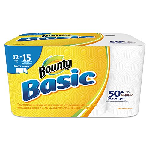 Bounty 92972 Basic Select-A-Size Paper Towels, 5 9/10″ x 11″, 1-Ply, White Pack of 12