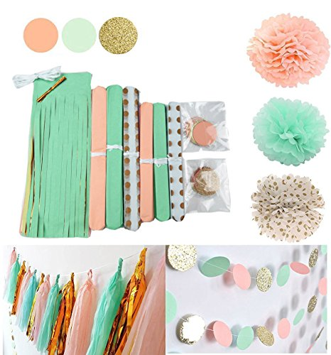 Qian's Party 20 pcs Mint Peach Glitter Gold Tissue Paper Pom Pom Gold Tissue Pom Pom Paper Tassel Polka Dot Paper Garland for Baby Shower Decoration Wedding Nursery Decorations Bridal Shower