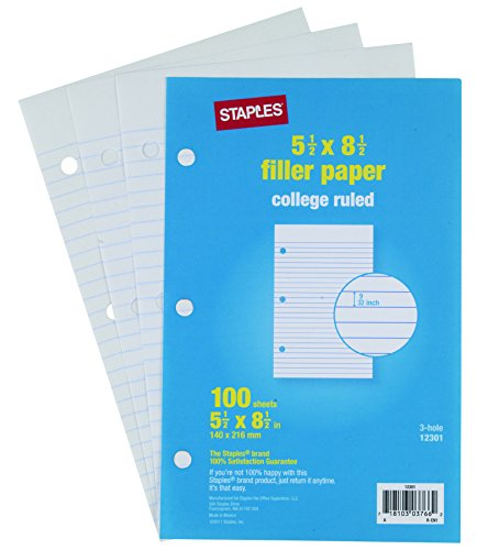 staples college ruled filler paper 5 1 2 x 8 1 2 100 pack