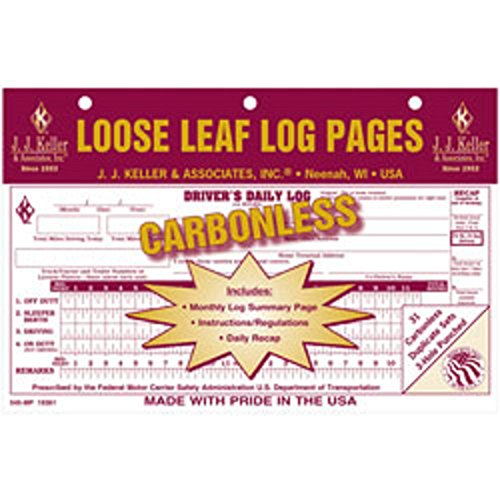 J.J. Keller – Driver's Daily Log with 7 and 8 Day Recap, Carbonless, pack of 12