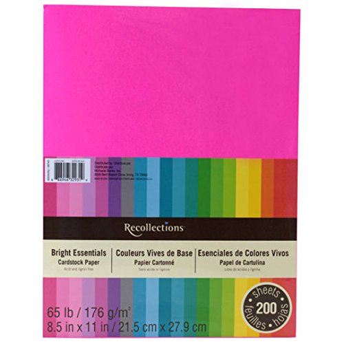 Recollections cardstock paper essentials 20 colors 200 sheets 8 1 great for greeting cards scrapbook pages cut outs and other diy projects acid and lignin free long lasting paper that wont discolor or disintegrate m4hsunfo