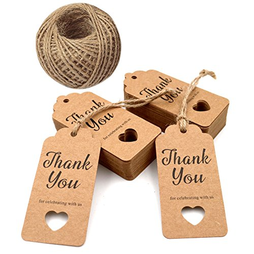 Gift TagsBaby Shower TagsHollow Heart Thank You For Celebrating With Us100 Pcs Kraft Tags Wedding Party Favors 100 Feet Natural Jute