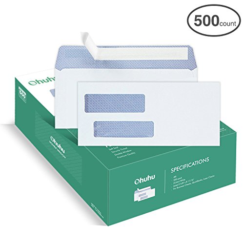 Ohuhu 500 Pack 8 Double Window Envelope Self Seal