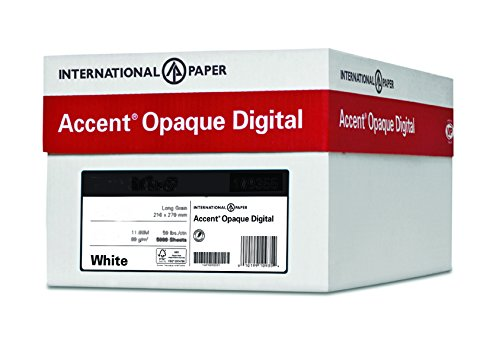 Accent Opaque, Super Smooth Cover White, 80lb, Letter, 8.5 x 11, 97 Bright, 2,000 Sheets / 8 Ream Case, Made in The USA