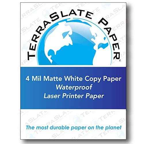 TerraSlate Paper 4 MIL 8.5″ x 11″ Waterproof Laser Printer/Copy Paper 100 Sheets