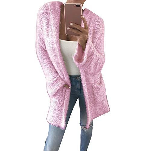 XOWRTE Cardigan for Women Winter Acrylic Long Sleeve Outerwear Blouse Jacket Autumn Knit Pocket Casual Loose Warm Coat