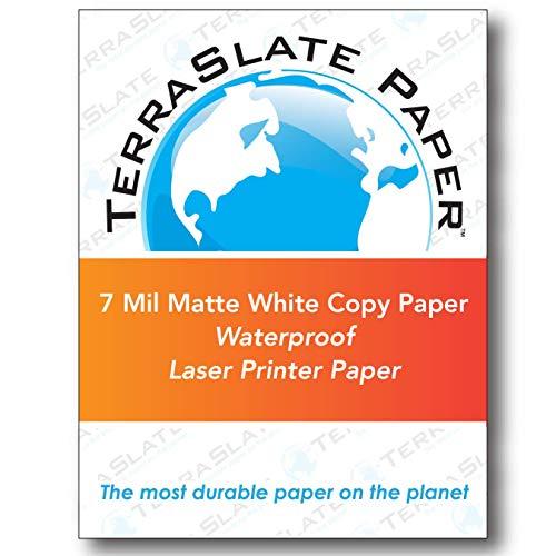 TerraSlate Paper 7 MIL 8.5″ x 11″ Waterproof Laser Printer/Copy Paper 250 Sheets