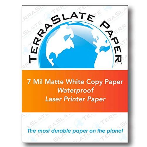 TerraSlate Copy Paper Waterproof Laser Printer, Rain Weatherproof, 7 MIL, 8.5×11-inch, 50 Sheets