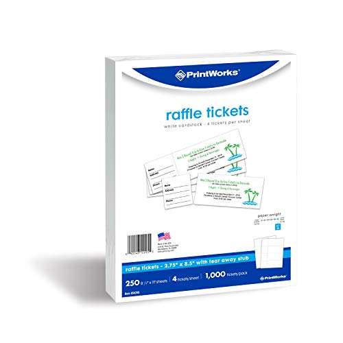 PrintWorks Heavyweight Perforated Cardstock for Raffle Tickets, Coupons, and More, Tear-Away Stubs, 8.5 x 11, 67 lb, 4 Tickets Per Sheet, 250 Sheets, 1000 Tickets Total, White 04295 2.75 x 8.5