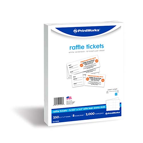 PrintWorks Heavyweight Perforated Cardstock for Raffle Tickets, Coupons, and More, Tear-Away Stubs, 8.5 x 11, 67 lb, 8 Tickets Per Sheet, 250 Sheets, 2000 Tickets Total, White 04296 2.125 x 5.5