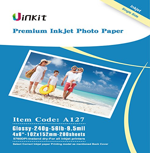 4×6 Glossy Photo Paper Inkjet Paper – Uinkit 200 Sheets Pack 9.5Mil 240Gsm For Inkjet Printing Only -4×6 Glossy