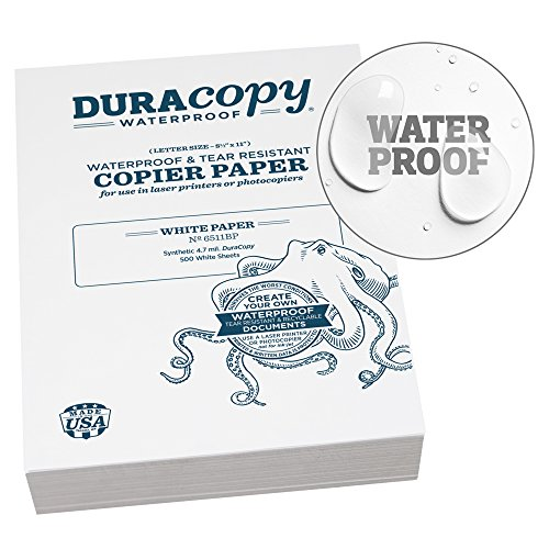 Rite in the Rain Waterproof DURARITE Copier Paper, 8 1/2″ x 11″, White, 500 Sheet Pack No. 6511BP