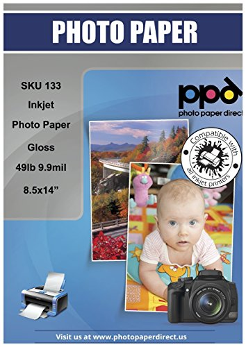 PPD Inkjet Glossy Photo Paper Legal 8.5×14″ 49lb. 180gsm 9.9mil x 50 Sheets PPD133-50