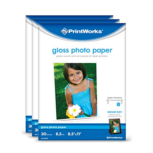 Printworks Photo Paper, Gloss, 8.5in x 11in, 90 Sheets 3-Pack Bundle, 00543
