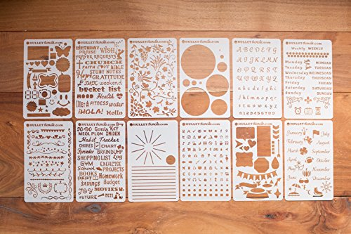 BULLETstencils Starter Set – Featuring 12 Journal Stencils: Includes Word Stencils, Circle Stencils, Drawing Stencils, Icons, Charts, Shapes, & Much More!