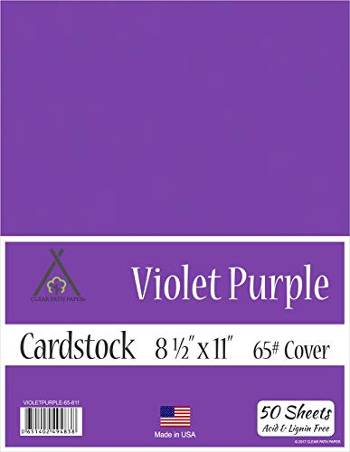 65Lb Cover – 50 Sheets – Violet Purple Cardstock – 8.5 x 11 inch