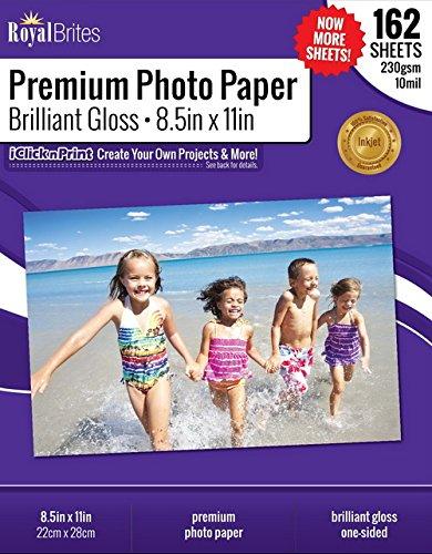 Royal Brites Brilliant Premium High Gloss Photo Paper, 8.5 x 11 Inches, 162/Pack 47271