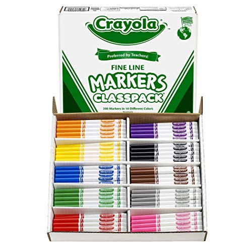 Crayola BIN8210 Non-Washable Classpack Markers, Fine Point, 10 Colors, Pack of 200
