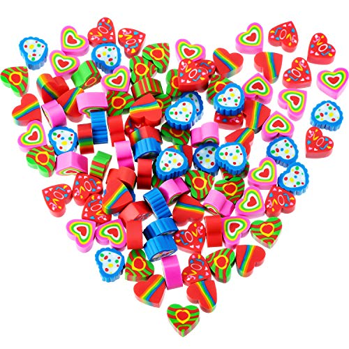 Jovitec 100 Pieces Mini Heart Erasers Colorful Valentine's Day Erasers Novelty Heart Erasers for Party Favors, Homework Rewards, Gift Filling and Art Supplies