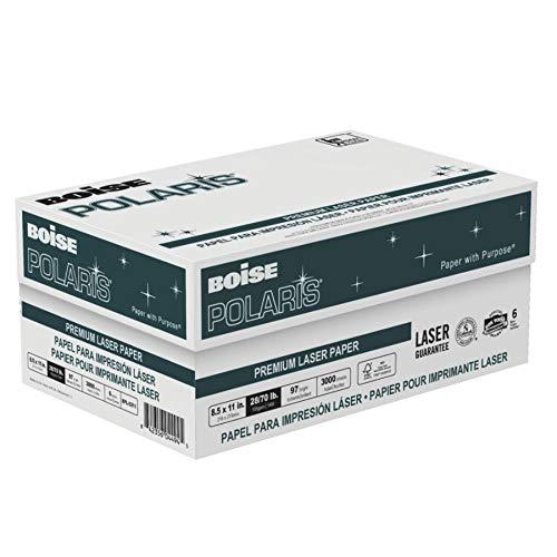 BOISE POLARIS Premium Laser Paper, 8.5 x 11, 98 Bright White, 28 lb, 6 ream carton 3,000 Sheets
