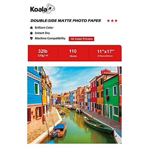 Koala Double Sided Matte Photo Paper 11''x17'' 120gsm 110 Sheets/pack Compatible with All Inkjet Printer