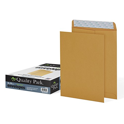 Quality Park 9″ x 12″ Self-Seal Catalog Envelopes, For Mailing, Organizing and Storage, Brown Kraft, Heavy 28-lb Paper, 100 Per Box QUA44562
