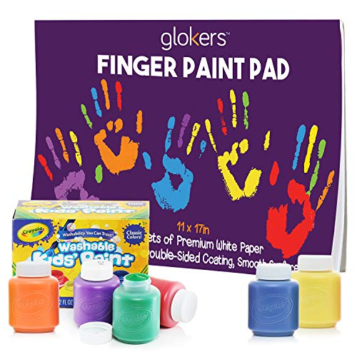 glokers Finger Paint Paper Pad Bundle with 6 Non-Toxic Washable Crayola Finger Paints for Toddlers | Stamp Art Paper for Kids | Toddler Craft Painting Supplies | 50 Sheets of 11 x 17 Inches