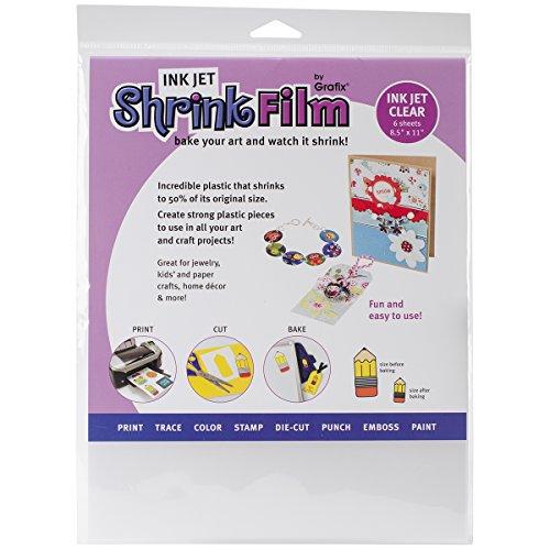 GRAFIX KSF6-CIJ 6 Piece Printable Shrink Film, 6-Pack, Clear