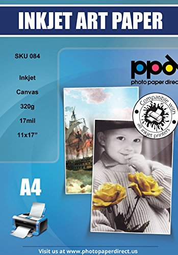 PPD Inkjet Canvas 100% Real Printable Cotton Canvas 11 x 17″ 90lbs. 320gsm 17mil x 10 sheets PPD084-10