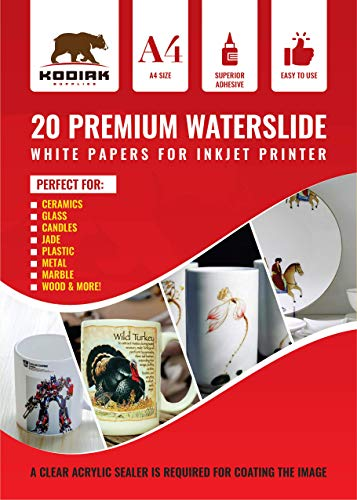DIY A4 water slide Transfer WHITE Printable Water Slide Decals A4 20 Sheets White – 20 Sheets – Kodiak Supplies A4 Waterslide Decal Paper INKJET WHITE