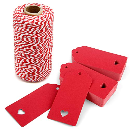 300 Feet Red and White Twine and 100 PCS Gift Tags Valentine's Day Heart Shape Kraft Paper Tags Price Tags by Blisstime red-3