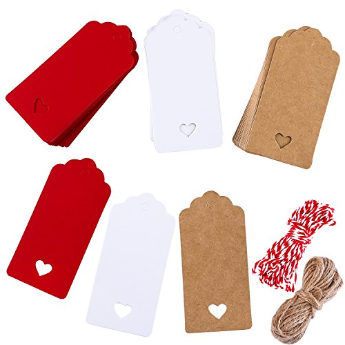 Coobey 150 Pieces Kraft Paper Tags Gift Tags Hang Labels Love Heart Design for DIY Arts and Crafts Christmas Birthday Gift Valentine's Day Decoration Wedding Party with 40 Meters Twine