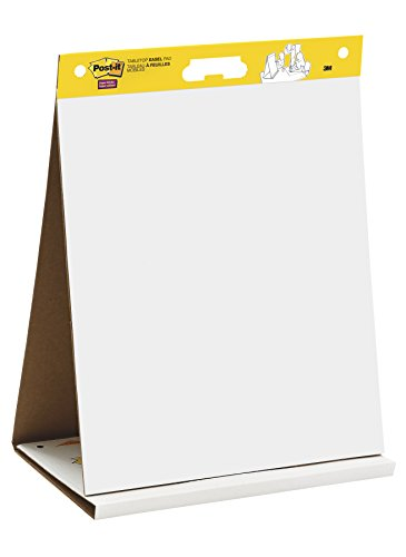 Post-it Super Sticky Tabletop Easel Pad, 20 x 23 Inches, 20 Sheets/Pad, 1 Pad 563 DE, Portable White Premium Self Stick Flip Chart Paper, Dry Erase Panel, Built-in Easel Stand