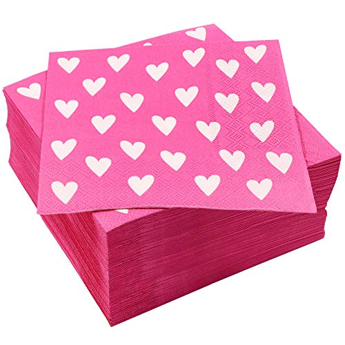 Juvale 100-Pack Hearts Design Luncheon Napkins for Valentine's Day, Bridal Shower, and Girls Birthday Party Supplies, 6.5 Inches