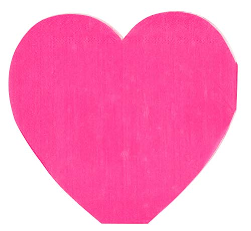 Valentine's Day Napkins – 50-Pack Heart Shaped Cocktail Napkins, Disposable Paper Napkins for Valentines Day, Wedding, Bridal Shower Party Supplies, 3-Ply, Hot Pink, Folded 6 x 6 Inches