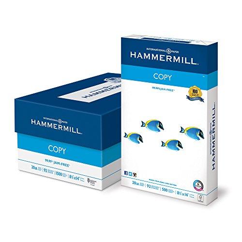Hammermill Paper, Copy Paper Poly Wrap, 8.5×14 Paper, Legal Size, 20lb Paper, 92 Bright, 3 Ream Case / 1,500 Sheets 150800C Acid Free Paper