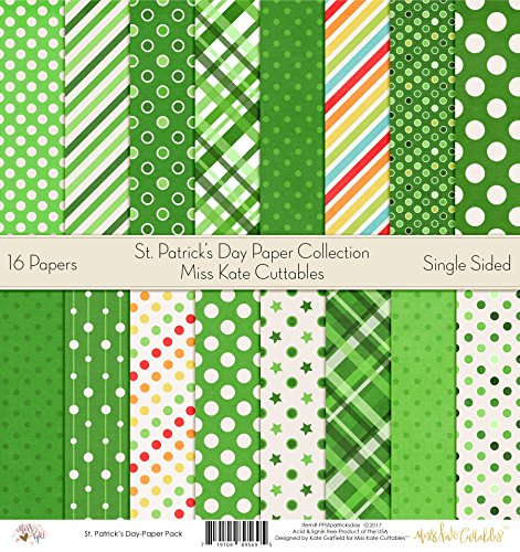 St. Patricks Day – by Miss Kate Cuttables – Pattern Paper Pack – Scrapbook Premium Specialty Paper Single-Sided 12″x12″ Collection Includes 16 Sheets