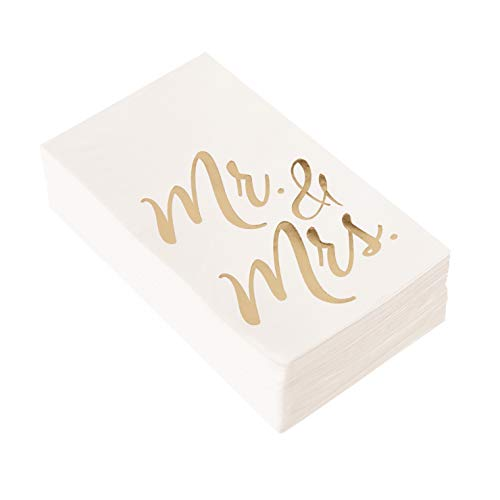 50-Pack Mr and Mrs Gold Foil Paper Napkins, 1/6 Fold 3-Ply, Wedding, Anniversary Disposable Party Supplies, White, Folded 4 x 8 Inches – Wedding Dinner Napkins