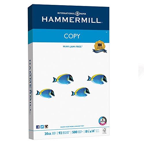 Hammermill Paper, Copy Paper Poly Wrap, 8.5×14 Paper, Legal Size, 20lb Paper, 92 Bright, 1 Ream / 500 Sheets 150800R Acid Free Paper