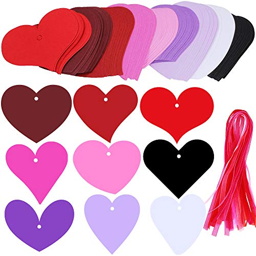 Supla 90 Pcs 9 Colors 9 Heart Cut Outs Valentine's Day Gift Tag with Holes Favor Tags Blank Paper Tags Treats Tags Hang Label Tags Place Cards with 100 Pcs Decorative Organza Ribbon for Gift Wrapping
